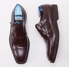 New $820 SUTOR MANTELLASSI Burgundy Double-Buckle Monk Strap US 10.5 D Shoes