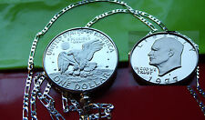 """USA 1977 PROOF IKE DOLLAR Coin Bezel Pendant on a 30"""" .925 Sterling Silver Chain"""