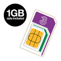 Three 3G Mobile Broadband Sim Card Ready to Go with 1GB Data iPad Tablet Dongle