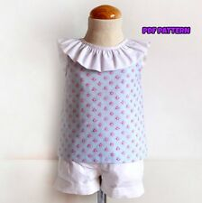 PDF DIGITAL SEWING PATTERN Open back and bow Blouse Baby to child Girls 1-12year