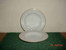 "2-PC NORITAKE CHINA ""LOCKLEIGH"" LRG 8 3/4"" SOUP BOWLS/#4061/WHT-GOLD/FREE SHIP!"