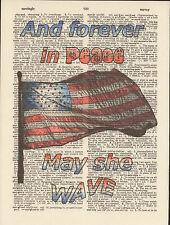 US Flag Old Glory Americana Altered Art Print Upcycled Vintage Dictionary Page