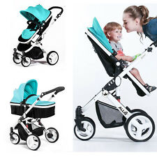 Allis Baby Pram Pushchair Buggy Stroller Carry Cot Travel 2in1 Turquoise
