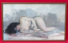 MID CENTURY OIL PAINTING RECLINING ASIAN FEMALE NUDE SIGNED LE LEA MING MINGH?
