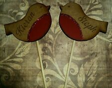 Wooden engraved personalised robin bird cake topper christmas wedding