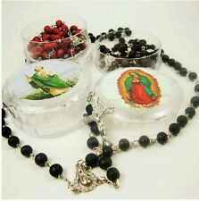 (1) Rose Scented Catholic Wood Rosary Beads with Case -  Black , Red or Brown