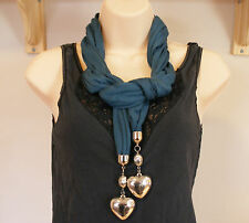 LADIES TEAL BLUE PENDANT SCARF LARGE SILVERTONE HEARTS PENDANTS ON ENDS BNWOT