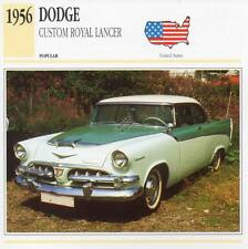 1956 DODGE CUSTOM ROYAL LANCER Classic Car Photograph / Information Maxi Card
