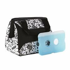 NEW Fit & Fresh Ladies Downtown Insulated Lunch Bag w/ Ice Pack, Ebony Exterior