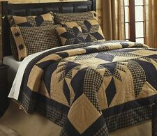 RUSTIC COUNTRY BLACK STAR 3pc Full / Queen QUILT SET : WESTERN CABIN DAKOTA