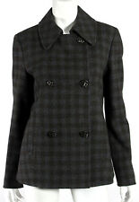 GIORGIO ARMANI Gray & Brown Check Print Wool Double-Breasted Jacket 44