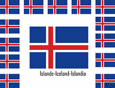 Assortiment lot de10 autocollants sticker drapeau Islande-Iceland-Islandia