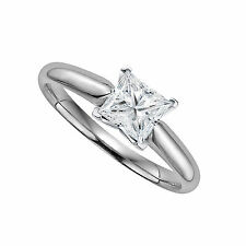 1ct Square Princess Diamond Simulated Solitaire Engagement Ring 14k White Gold