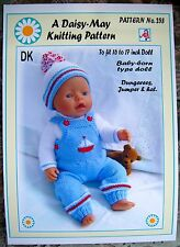 1 DOLLS KNITTING PATTERN for BABY BORN or 16 to 18 inch doll No 258 by Daisy-May