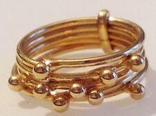 bague bijou vintage couleur or rodié  5 anneaux déco mobile taille 54 -  324