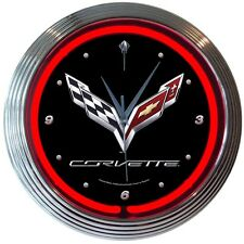 "Chevrolet Corvette C7 Logo Red Neon Hanging Wall Clock 15"" Diameter"
