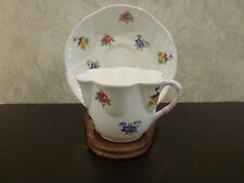 China Cup Saucer w/ Stand Crown Staffordshire England Floral Bouquet Scalloped