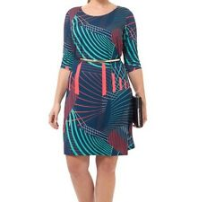 Triste By Gwynnie Bee Peacock Abstract Shift Women Dress Size 5X(30/32)