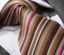 Nouveau design italien marron & rose à rayures cravate en soie