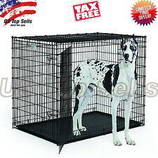"Extra Large Dog Kennel Crate 48"" Folding Cage 2 Doors Metal ABS Tray Pad XL XXL"