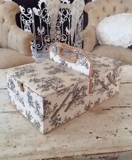 Vintage French Sewing Box Toile De Jouy Covered Sewing Box