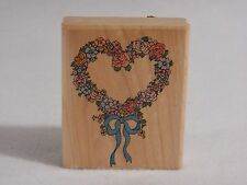Rubber Stampede Wood Mounted Stamp : Flower Wreath 684-E Heart Shape