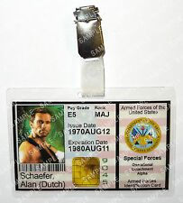 Predator Alan Dutch Schaefer ID Badge Aliens Armed Forces Cosplay Prop Christmas