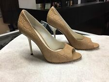 Gucci Beige Guccissima Leather Peep Toe Pumps Heels 253308 (Size 7.5)