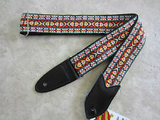 JODI HEAD Handmade Guitar Strap HOOTENANNY #23 Red White Hippie Retro Jimmy Page