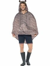 Mens Leopard Print Ponchos Waterproof Party Jacket Fancy Dress Festival Animal