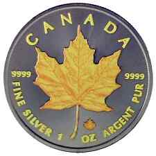 2016 1 Oz Ounce Silver Maple Leaf Coin .999 Ruthenium Colorised Yellow
