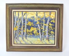 Vintage Impressionist Oil Painting Of Autumnal Forest Scene With Birch Trees