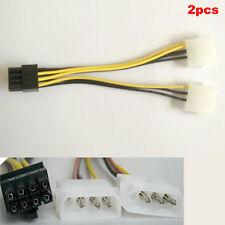2pcs Dual Molex LP4 4 pin to 8 pin PCI-E Express Converter Adapter Power Cable