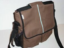 Daddy Diaper Bag Eco-Friendly Organic Cotton Chocolate Brown Canvas W/Baby Pad