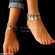 ANKLET: SILVER WITH METAL COINS Wicca Witch Pagan Belly Dance Goth Hippie