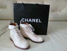 Chanel 14C Ecru Combat Runway Quilted Lace Up Ivory Ankle Boots Oxford 35 5 4.5