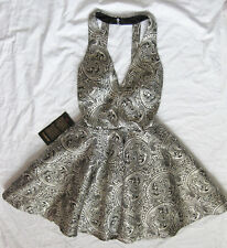 BEBE METALLIC JACQUARD FIT & FLARE DRESS NEW NWT $169 XSMALL XS 2