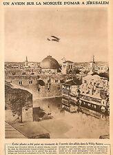 JERUSALEM UN AVION SUR LA MOSQUEE D' OMAR IMAGE 1918