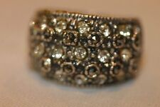 STERLING SILVER MARCASITE CLEAR STONE WIDE BAND TOP RING SIZE 6.5