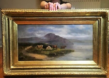 OLD MASTER LARGE Early 1800's SCOTTISH CATTLE At Herring OIL PAINTING G/G/FRAME