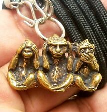 3 WISE MONKEYS ASIAN AMULET PENDANT NECKLACE WEALTH RICH LUCKY PEACEFUL SUCCESS