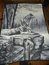 VTG.BIEDERLACK.BLANKET.WOLF.WLVES.HUSKY.SLED DOGS.ROCK CLIFF.FOREST.
