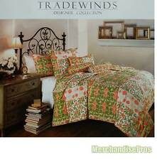 7 PC TRADEWINDS 'SIESTA' HAND CRAFTED & TACKED FLORAL KING QUILT WITH SHAMS NEW!