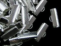 50 Pcs x Silver Plated Ribbon Ends / Clasps 16mm x 8mm Findings Craft  F19