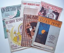 Lot of 6 Vintage Sheet Music From 1921 Over the Hill Yoo Hoo Marie Tucky Home
