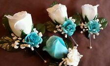 6 piece 4 Rose Boutonniere* 2 Corsage  White, Turquoise Quinceanera  wedding