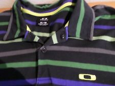 OAKLEY Blue With Blue Stripes 100% Cotton Polo Golf Shirt  Size X-LARGE