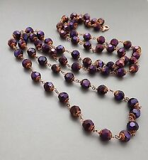 Purple sparkle solid crystal glass long necklace . glam flapper copper jewellery