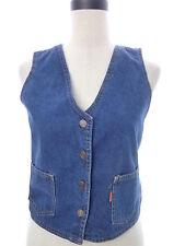 Vintage Levi's Crop Button Down Denim Vest Womens Medium M Orange Tab