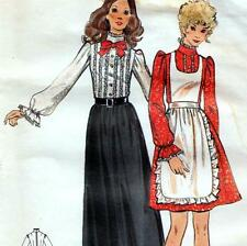 "ROMANTIC Vintage 70s DRESS & APRON Sewing Pattern Bust 36"" Size 12 Evening PARTY"